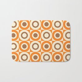 Mid Century Square and Circle Pattern 541 Orange and Brown Bath Mat