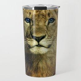 Blue eyed Lion Travel Mug