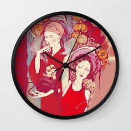 Girls in tropical garden Wall Clock