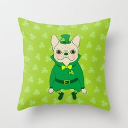 Cute French Bulldog is Feeling Lucky on St. Patrick's Day Throw Pillow