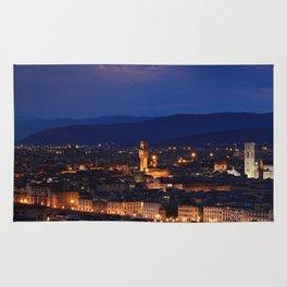 Panorama of Duomo Santa Maria Del Fiore, tower of Palazzo Vecchio. Rug