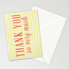Thank You - Yellow Chevron Stationery Cards