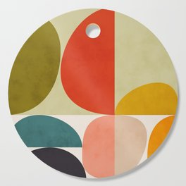shapes of mid century geometry art Cutting Board