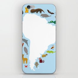 South America sloth anteater toucan lama armadillo manatee monkey dolphin Maned wolf raccoon jaguar iPhone Skin
