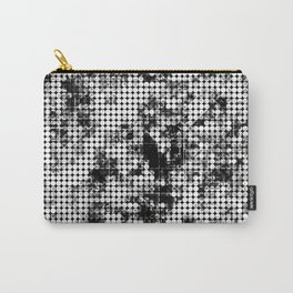 psychedelic circle pattern painting abstract background in black and white Carry-All Pouch