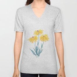 three yellow flowers Unisex V-Neck