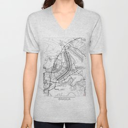 Brasilia Map White Unisex V-Neck