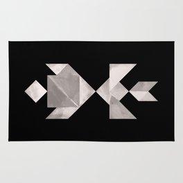 Tangram Fish in love - black and white Rug