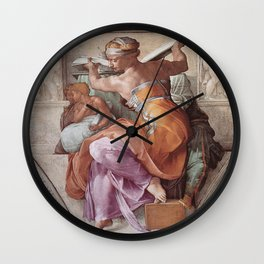 The Libyan Sybil Sistine Chapel Ceiling by Michelangelo Wall Clock