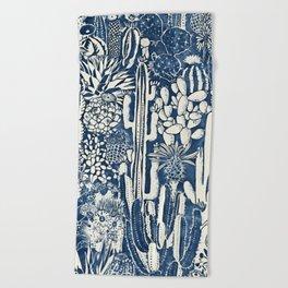 Indigo cacti Beach Towel