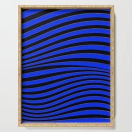 Black and Blue Linear Abstract Print Serving Tray