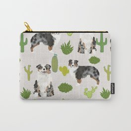 Australian Shepherd owners dog breed cute herding dogs aussie dogs animal pet portrait cactus Carry-All Pouch