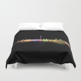 Toronto Skyline At Night From Centre Island Reflection Duvet Cover