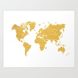 WORLD MAP : GOLD Art Print