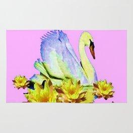 White Swan & Yellow Water Lilies Pink Art  Fantasy Rug