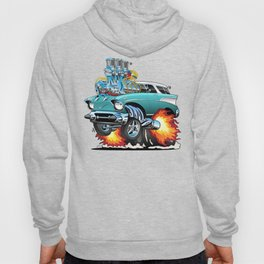 Classic Fifties Hot Rod Muscle Car Cartoon Hoody