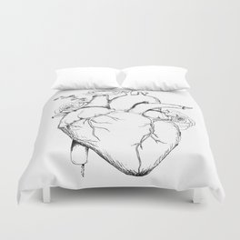 Black and White Anatomical Heart Duvet Cover