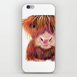 Scottish Highland Cow ' THe KiD 2 ' by Shirley MacArthur iPhone Skin