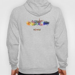 Nimes skyline in watercolor  Hoody