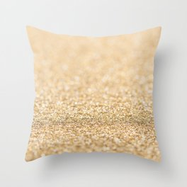 Beautiful champagne gold glitter sparkles Throw Pillow