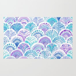 Mystical MERMAID DAYDREAMS Watercolor Scales Rug