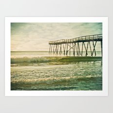 Lo-fi Oceanic Pier Wrightsville Beach NC Sunrise Vintage Tones Art Print