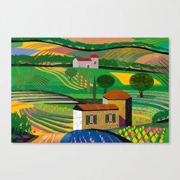 Farm House in fields Canvas Print