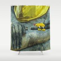 thailand Shower Curtains featuring Buddha in Thailand by Maria Heyens