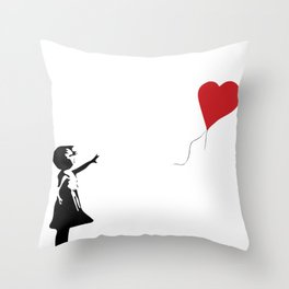 Banksy Girl with Heart Balloon Throw Pillow