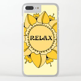 Relax Nouveau Golden Sun Mandala Clear iPhone Case