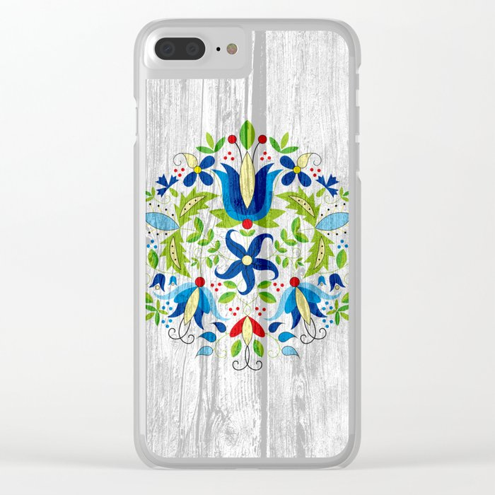 folk flowers Clear iPhone Case