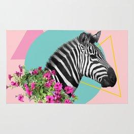 zebra and petunias Rug