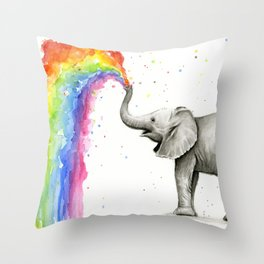 Baby Elephant Spraying Rainbow Whimsical Animals Throw Pillow