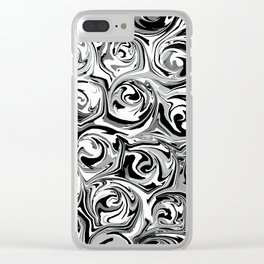 Onyx Black and White Paint Swirls Clear iPhone Case