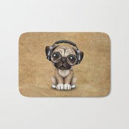 Cute Pug Puppy Dj Wearing Headphones and Glasses Bath Mat