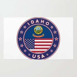 Idaho, Idaho t-shirt, Idaho sticker, circle, Idaho flag, white bg Rug