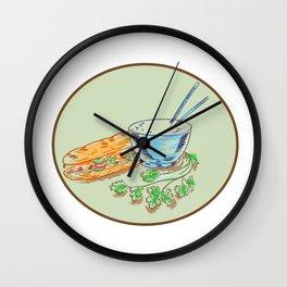 Bánh Mì Sandwich and Rice Bowl Drawing Wall Clock
