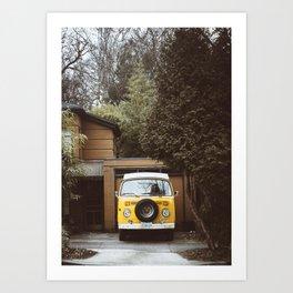 Yellow Van Ready For Road Art Print
