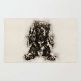 Cavalier King Charles Spaniel Puppy Sketch Rug