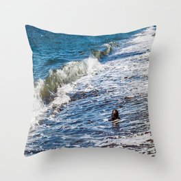 Waves vs Coconut Throw Pillow