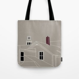 Cityscape Urban Illustration in Warm Grey Tote Bag