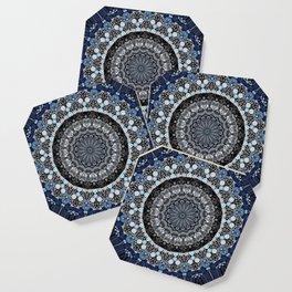 Dark Blue Grey Mandala Design Coaster
