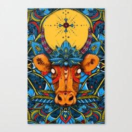 Holy Cow! Blue Lotus Mandala. Canvas Print