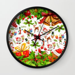 Holiday festive red green holly Christmas pattern Wall Clock