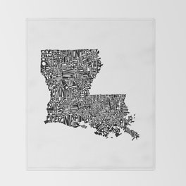 Typographic Louisiana Throw Blanket