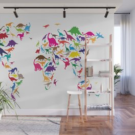 Dinosaur Map of the World Map Wall Mural