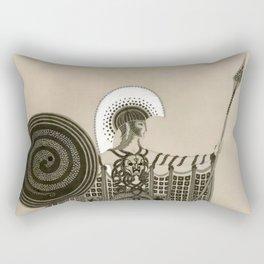 "Art Deco Sepia Illustration ""Athena"" Rectangular Pillow"
