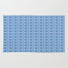 Blue Fish Block Print Rug