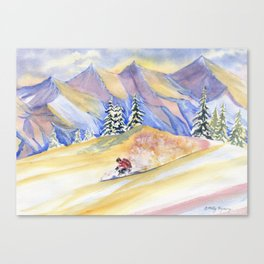 Powder Skiing Art Canvas Print