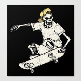 Vintage Skateboarding Skeleton Canvas Print